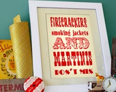 firecrackers, smoking jackets and martinis don't mix - large size - carnival red