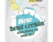How 'bout Cookin' Print - medium size - grey and blue kitchen art with song lyrics poster