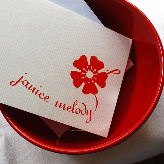 20 Personalized Red Blossom Cards
