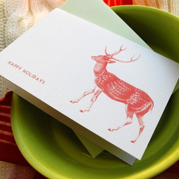 Set of 10 Deer Holiday Cards