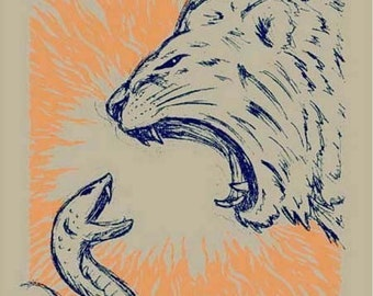 Lion vs Snake animal silkscreen Art Print - screen-printed poster 18 x 24 wall decor - blue - orange