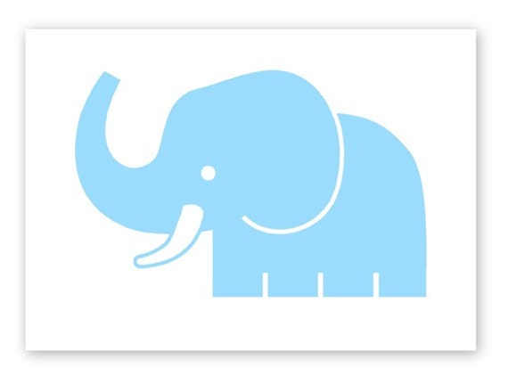 Cute Baby Blue Elephant Art Print. Great gift for kids room or nursery. Screenprinted by hand in Ohio.