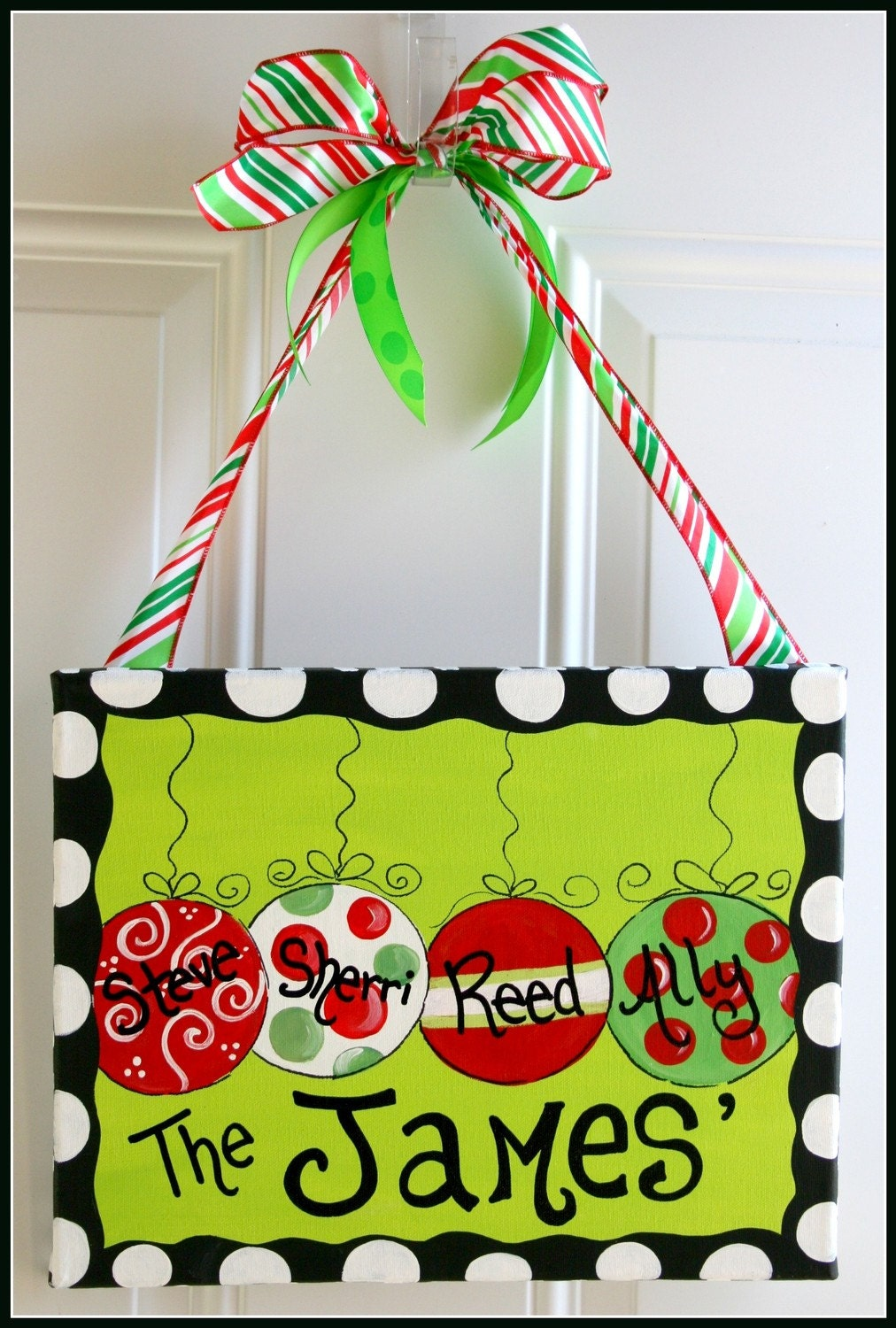 Christmas ornament painting on canvas hand by for Cute christmas decorations