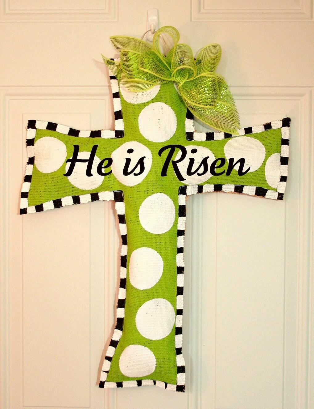 Easter Cross Burlap Door Hanger Christian By Mustloveartstudio