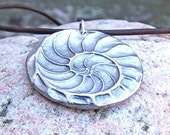 Nautilus Shell Necklace, Natures Spiral Pendant, Fibonacci Jewelry, Rustic Ocean Jewelry Gift, Summer Beach Trend