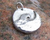 Little Ocean Wave Pendant, Wave Charm, Rustic Jewelry, Surf, Hammered Texture, Summer Jewelry
