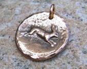 Copper Running Rabbit or Hare pendant