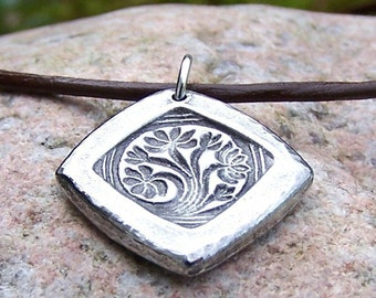 Dreaming Tree Necklace, Handcast Pewter Pendant, Flowering Tree Pendant, Rustic Jewelry