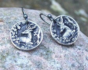 Tiny Deer Earrings, oxidized sterling silver ear wires, Woodland Earrings, Nature Lover Jewelry, Rustic Jewelry, Small Earrings
