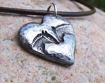 Horse Pals Necklace, Horse Head Heart, Rustic Equine Jewelry, Horse Friends Jewelry,  Equestrian Gift, Gift for Horse Lovers