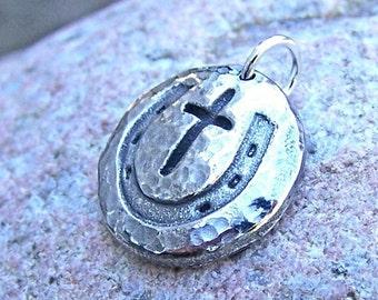 Cowgirl Cross Pendant, Horse Shoe Cross Charm, Rustic Horse Jewelry, Horseshoe Cross Pendant
