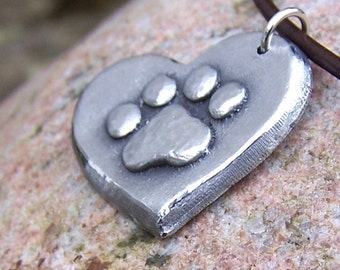 Paw Print on my Heart Necklace, Dog Lover Necklace, Cat Lover Necklace, Hand Cast Pewter Pendant