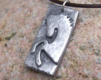 Horse Pendant, Rustic Jewelry, Wild and Free, Rustic Horse Lover Gift, Rearing Horse Pendant, Handcast Pewter Pendant