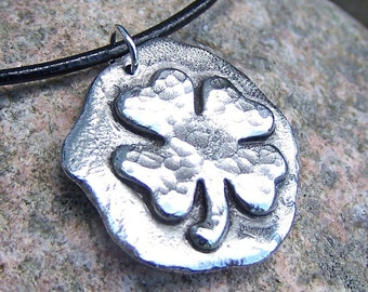 Shamrock Necklace, Four Leaf Clover Pendant on Leather Cord, Good Luck Necklace