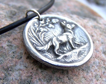 Fox Necklace, Rustic Woodland Jewelry, Handcast Pewter Pendant, Fox Pendant