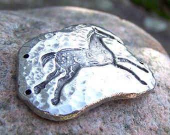 Pewter Indian Pony Bracelet Link, Horse Jewelry, Horse Link, running horse, connector, rustic hammered texture