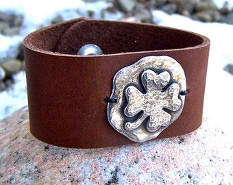 Four Leaf Clover Cuff Bracelet, Shamrock, Chocolate Brown, Soft Leather