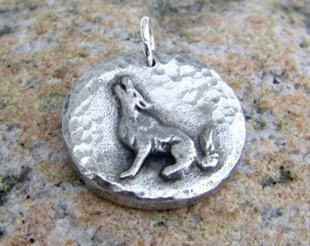 Howling Wolf Pendant, Rustic Jewelry, Handcast Pewter, Wolf Pendant, Hand Hammered Moon