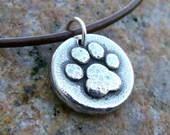 Little Paw Print Necklace, Dog or Cat Lover's Gift, Dog Pawprint, Cat Paw, Hand Cast Pewter Pendant, Paw Jewelry