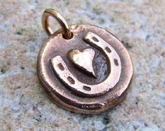 Copper Little Horse Love Pendant, Horseshoe Heart, Rustic Jewelry Charm, Gift for Horse lover