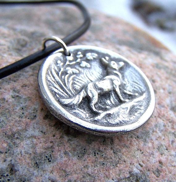 Fox Necklace, Rustic Woodland Jewelry, Handcast Pewter Pendant, Fox Pendant