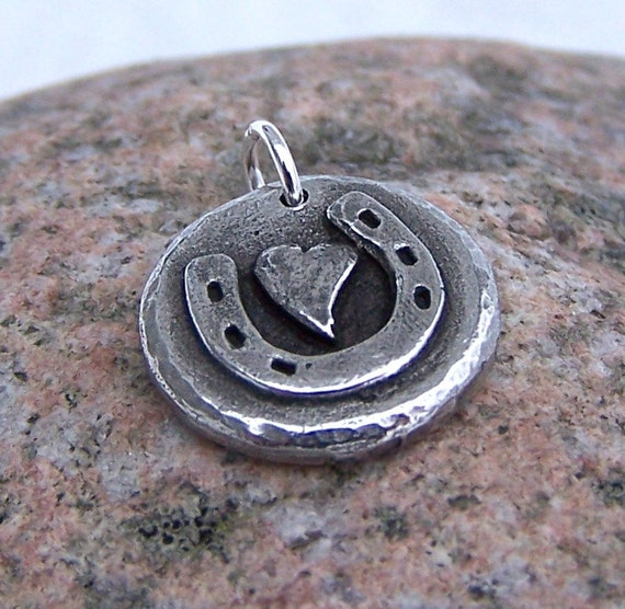 Little Horse Love pendant or charm, Horse Shoe, Heart, Horse Jewelry, Gift for Horse Lover