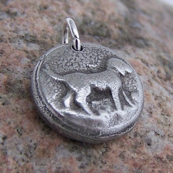 Happy Dog Pendant, Dog Charm, Dog Jewelry, Rustic Dog Jewelry, Dog Lover Gift
