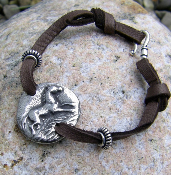 Horse Bracelet, Horse Jewelry, soft deerskin lace, chocolate brown or black lace, running horse, hand cast pewter