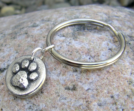 Little Paw Print Keychain, key ring, pet lover, dog paw, cat paw