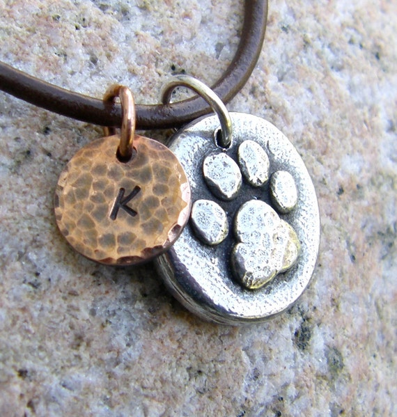 Custom Pet Name Necklace, Paw Print, Mixed Metal, Memorial Necklace, Rustic Jewelry, Dog Lover Gift, Cat Jewelry, handcast pewter and copper