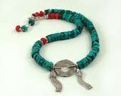 Turquoise Necklace with Sterling Silver Tassels and Coral Beads