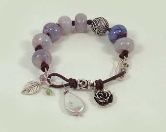 Southwestern Chunky Bracelet Sterling Silver Purple Agate Gemstone  Leather Charm Bracelet