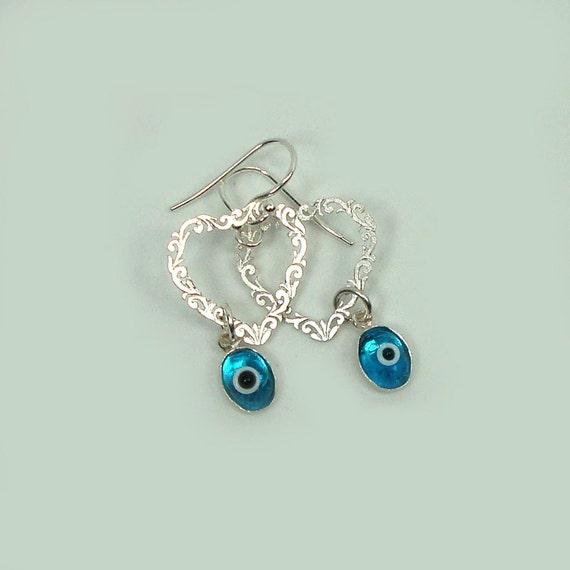 Evil Eye Earrings  Sterling Silver good luck evil eye jewelry