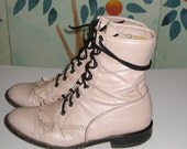 Vintage Justin Pink Leather Lace up Combat Ankle Boots with Kilts Sz 7.5 Unisex