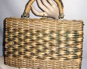 1950s Wicker Purse / 50s Straw Handbag Tan/ Olive Box Purse