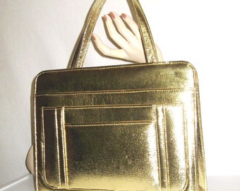60s Gold Purse Lg.Gold Handbag Metallic Leather Old Hollywood 1960s  Purse