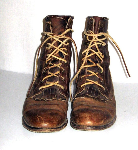 Women Sz 8 Justin Lace Up Granny Combat Boots Brown Leather