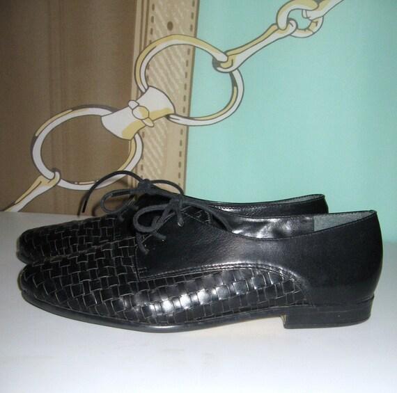 Women Oxford Shoes Black Leather Woven Lace up Oxfords Sz 8