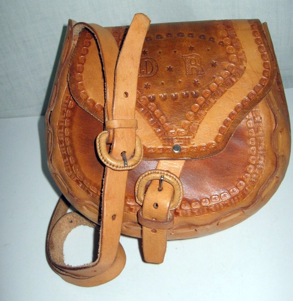 Vintage Hand Tooled Leather Bag/ Cross body Saddle Bag