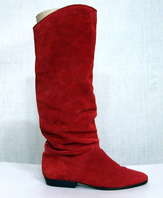 Vintage Boots Tall Red Suede Slouchy Boots Sz 6.5