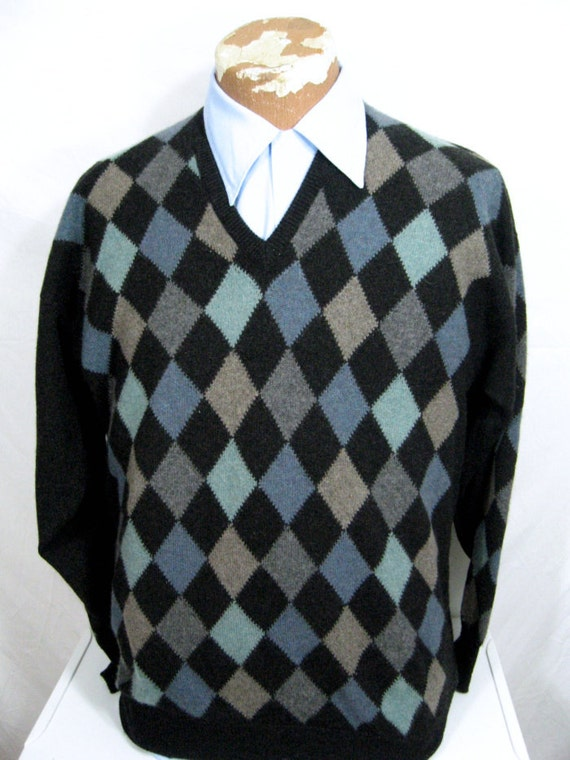 Reserved for Audrey.. Vtg Men McCulley's Scottish Argyle Cashmere Sweater XXL