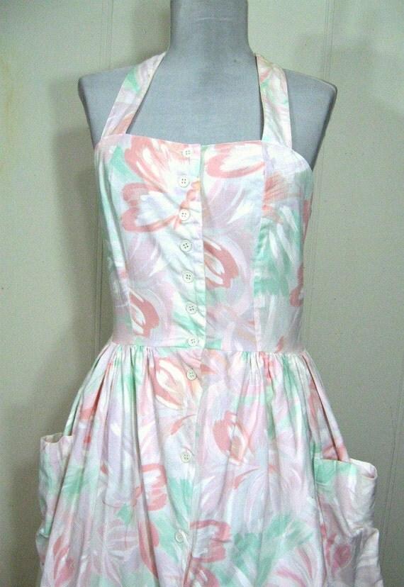 Vtg 60s Dress Joni Blair Floral Pastel Cotton Sundress