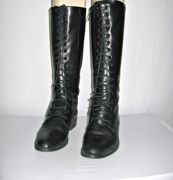 Size 7 Charles David Black Leather Lace Up Boots