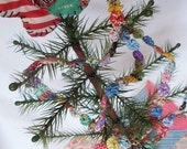 Easter Garland Banner Bunting Miniature Feedsack YoYo Vintage Christmas Feather Tree  Table Party TreeTrim Dollhouse 3' Yo Penny Rug