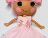 LaLaLoopsy Doll Dress Ann Estelle LittleFee Littlest Angel Handmade Fashion Clothes YoYoCottage Hand Painted Roses In Pink or Purple