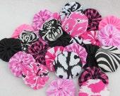 Fabric Flowers Appllique YoYo Pink Black White Zebra Birthday Wedding Rosette Hair Clip Bow Bobby Pin Scrapbook Wholesale Handmade 1/2 Off