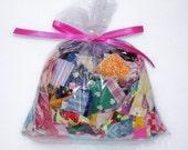 SNIPPETS Scrapbooking Card Pendant Children DIY Collage Altered Art Kit Making Scrap Stash Fabric Bag