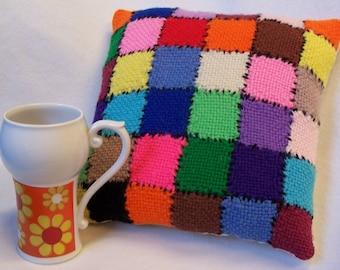 Weave It Quilt Pillow Retro Rainbow Bright Handmade 1970s 10 Inch Eye Candy Hippie Boho