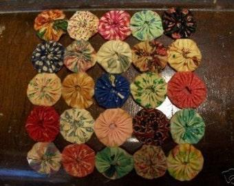 Mug Mat Candle Coaster Doiley Rustic Decor Runner Primitive Homespun Penny Rug Coffee Tea YoYo Quilt Fabric Prim