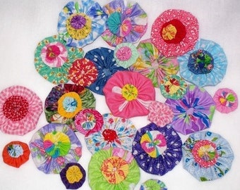 Fabric Flowers YoYo Bright Rainbow Bobby Pin Wedding Favors Birthday Party Rosette Hair Clip Bow Quilt Scrapbook Wholesale Handmade 1/2 Off
